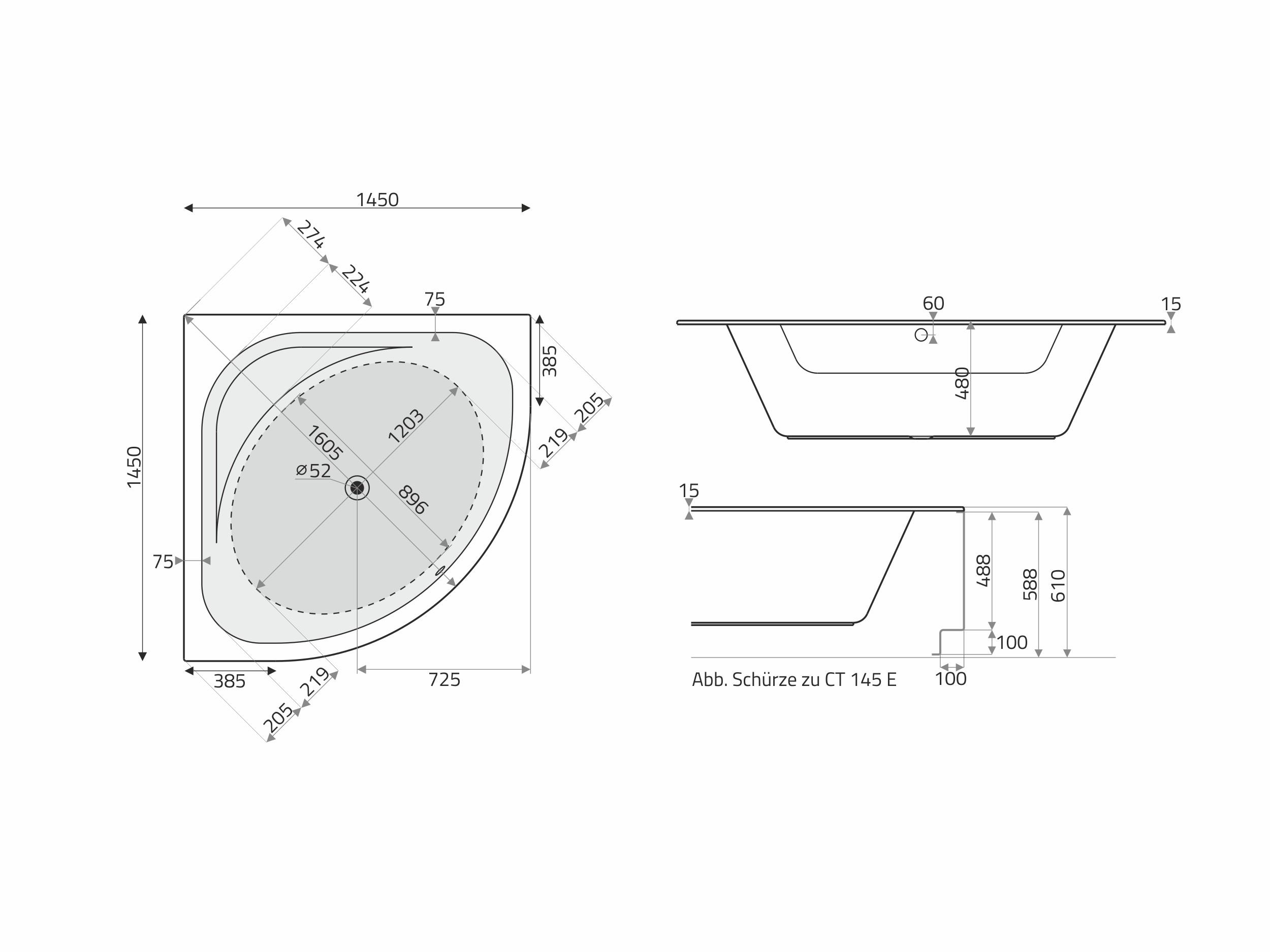 Vita Modular Acryl Trapez Badewanne 180x130 75 Re Cm Weiss Badisto