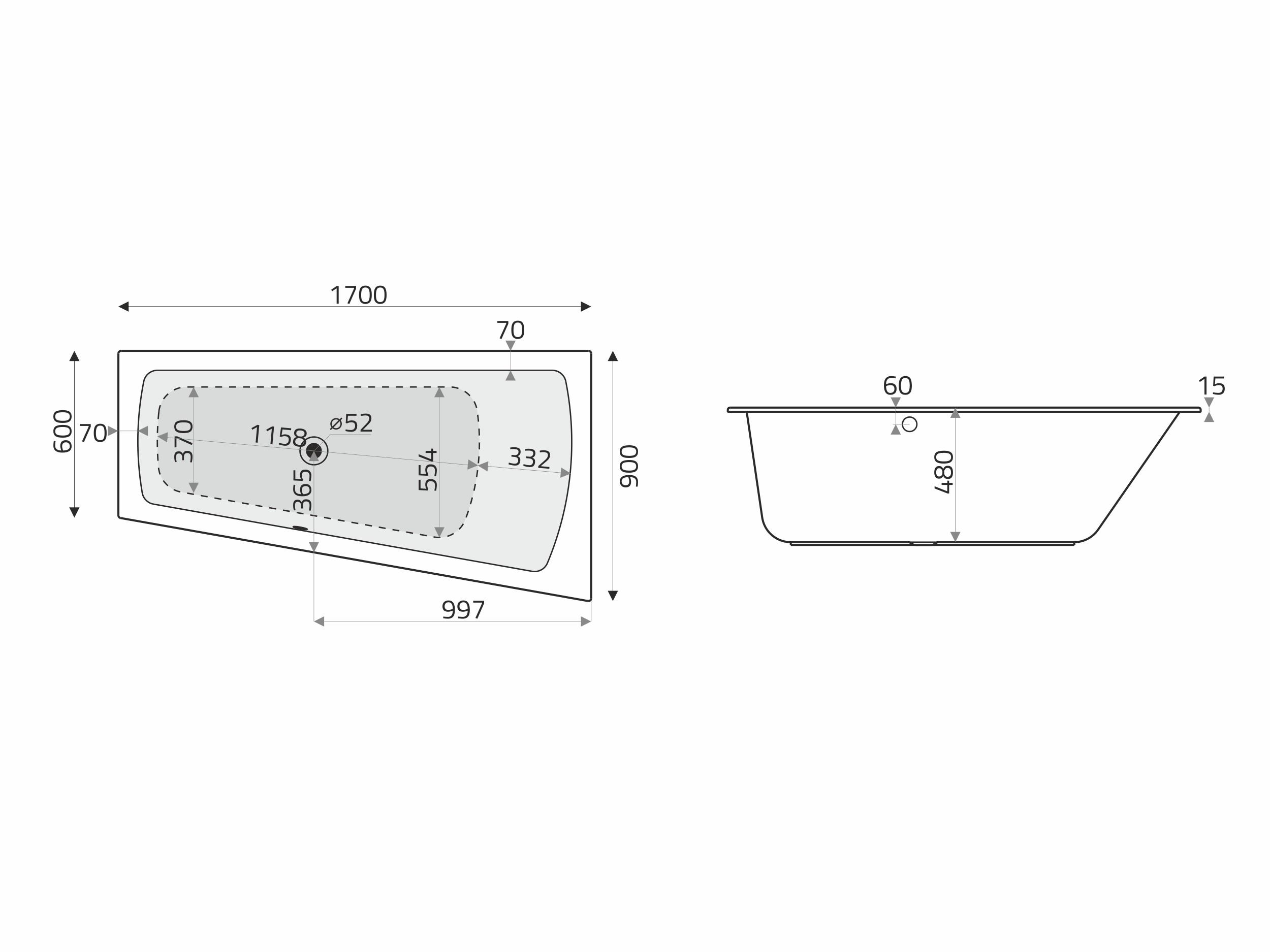 Vita Modular Acryl Trapez Badewanne 1709060licm Weiß Badisto