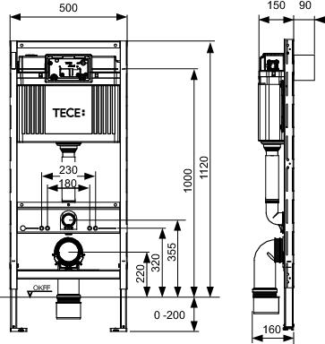 TECE profil Universalmodul Bidet 1120mm